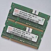 Пара оперативной памяти для ноутбука Hynix SODIMM DDR2 2Gb (1+1) 800MHz 6400s CL6 (HYMP112S64CP6-S6 AB) Б/У, фото 1