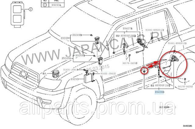 Схема расположения датчика уровня кузова Прадо ― 120/ Лексус ЖХ 470