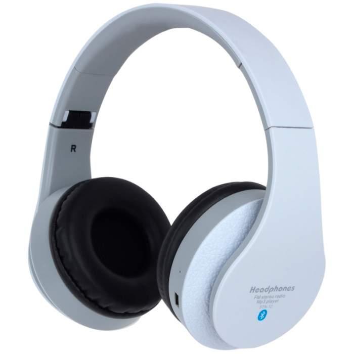 Беспроводные Bluetooth стерео наушники Dellta STN-12 с МР3 и FM белый