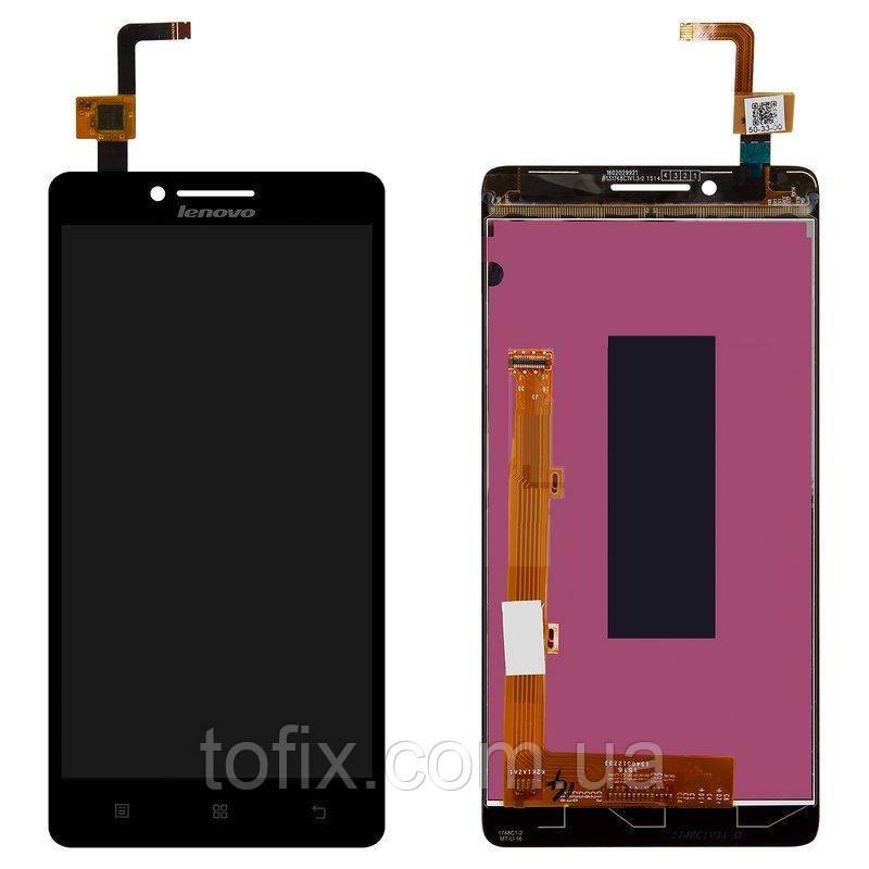Дисплей для Lenovo A6000 K3, Lenovo K3 (K30-T, K30-W), модуль в сборе (экран и сенсор), черный, оригинал