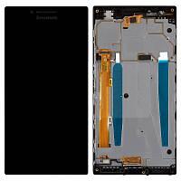 Дисплей для Lenovo P70 Dual Sim, модуль в сборе (экран и сенсор), с рамкой, черный, оригинал