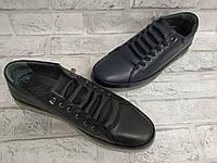 Подростковые кожаные спортивные туфли для мальчика черные G-Style