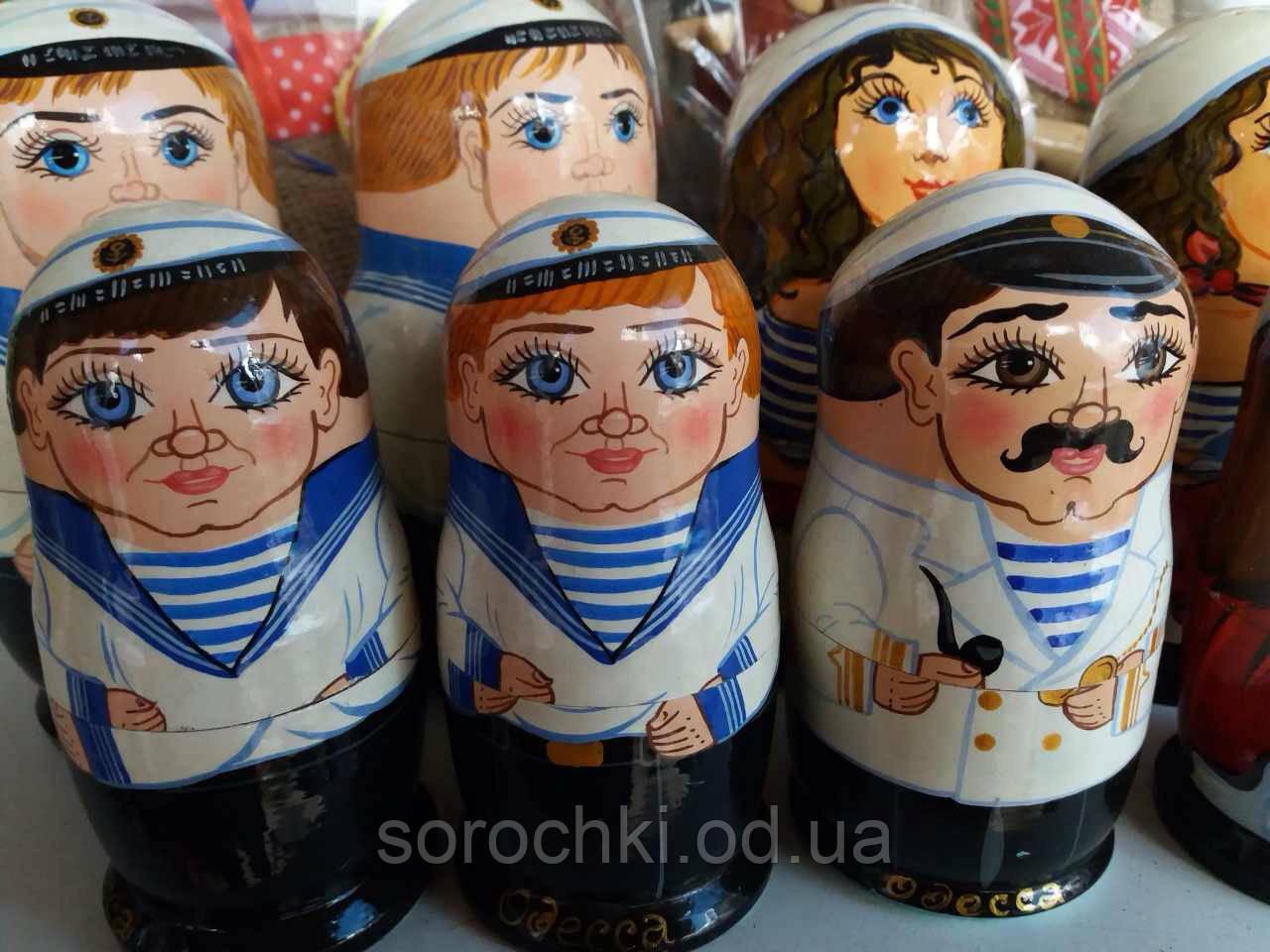 "Сувенир  ""Матрешка"" одесские персонажи , ""рыбак Костя"" тройка , пятерка , ручная работа , береза"