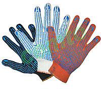 Перчатки рабочие вязаные  х.б. с ПВХ точкой 2-й сорт рукавички в'язані бавовняні з ПВХ крапкою