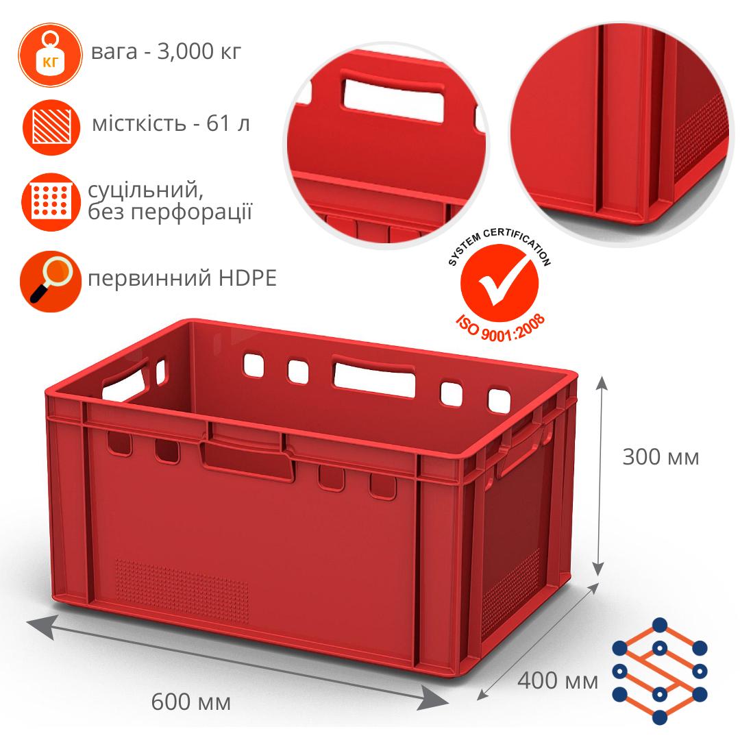 Ящик полимерный для мяса морозостойкий (600х400х300мм)