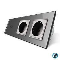 Бесконтактный выключатель с двумя розетками Livolo, цвет серый, стекло (VL-C701/C7C2EU-PRO-15)