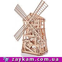 Мельница 00001 - деревянный 3D пазл Wood trick (механический деревянный конструктор)