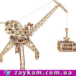 Кран 00005 - дерев'яний 3D пазл Wood trick (механічний дерев'яний конструктор)