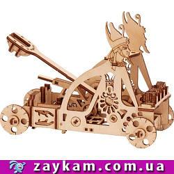 Катапульта 00009 - дерев'яний 3D пазл Wood trick (механічний дерев'яний конструктор)