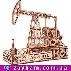Нефтевышка 00013 - деревянный 3D пазл Wood trick (механический деревянный конструктор)