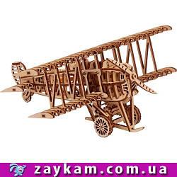 Самолет 00014 - деревянный 3D пазл Wood trick (механический деревянный конструктор)