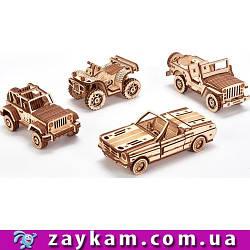 Набор машинок 00026 - деревянный 3D пазл Wood trick (механический деревянный конструктор)