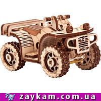 Квадроцикл ATV S1 - деревянный 3D пазл Wood trick (механический деревянный конструктор)