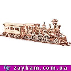 Локомотив  Поезд R17 - деревянный 3D пазл Wood trick (механический деревянный конструктор)