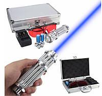Синяя лазерная указка с насадками Blue Laser B017 лазер в кейсе