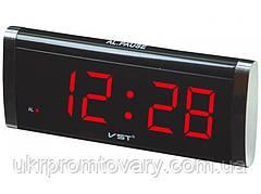 Настольные часы будильник VST-730 электронные, цвет - черный