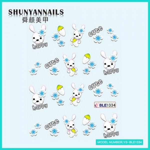 Слайдер дизайн для ногтей Зайчик, кролик, голубые цветы