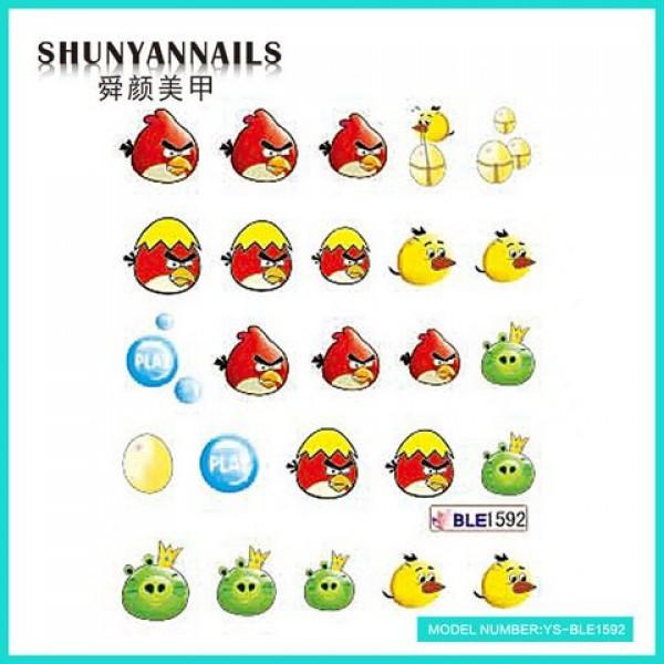 Слайдер дизайн для ногтей Птицы, Angry Birds, яйцо, шарики