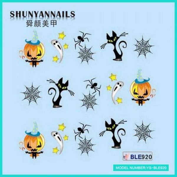 Слайдер дизайн для ногтей Хеллоуин, кошки, пауки, привидения