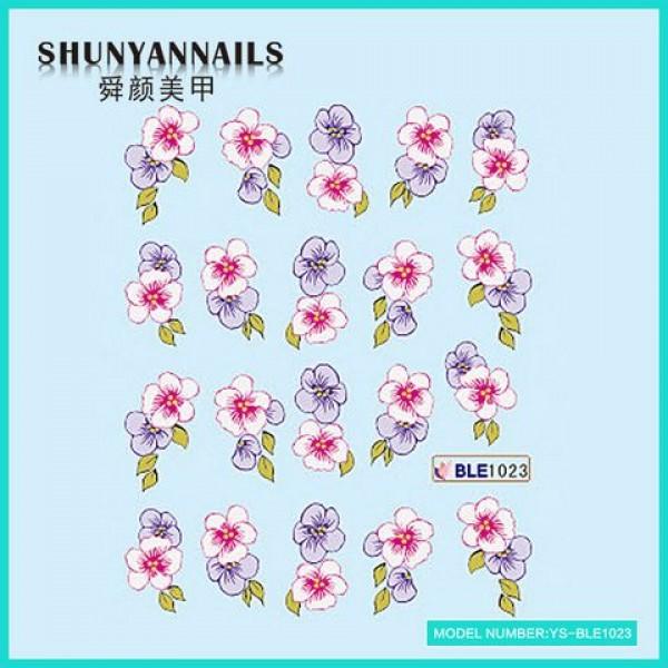 Слайдер дизайн для ногтей Цветы фиолетовые