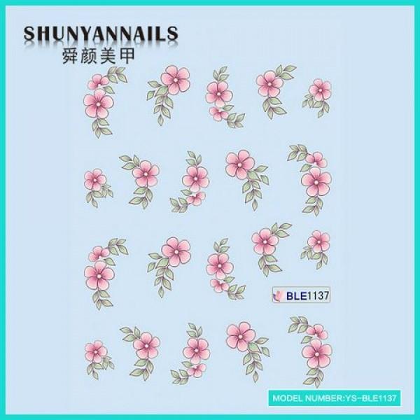 Слайдер дизайн для ногтей Цветы нежно розовые