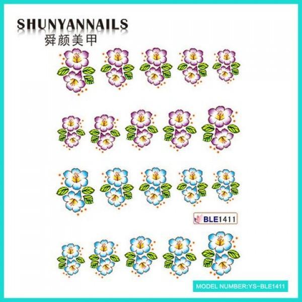Слайдер дизайн для ногтей Цветочки сиреневые, голубые