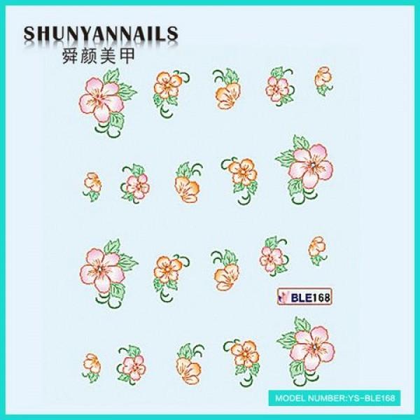 Слайдер дизайн для ногтей Оранжевые цветы, розовые цветы