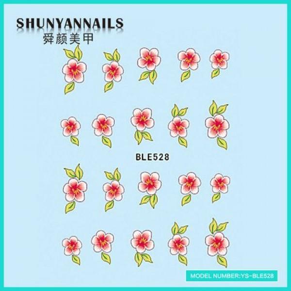 Слайдер дизайн для ногтей Цветы розово-красные