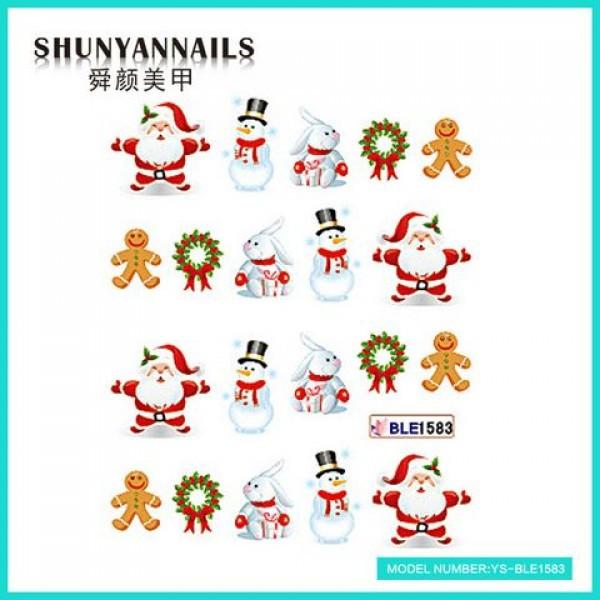 Слайдер дизайн для ногтей Новогодние, Санта Клаус, Дед мороз, зайчик, снеговик, пряник