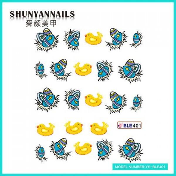 Слайдер дизайн для ногтей Пасхальные яйца, птички