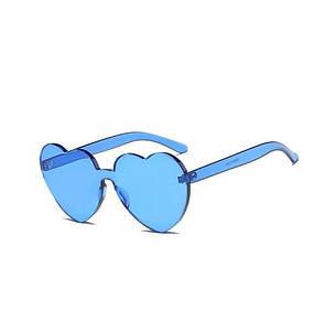 Солнцезащитные очки без оправы в форме сердец, синие, фото 2