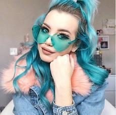Солнцезащитные очки без оправы в форме сердец, синие, фото 3
