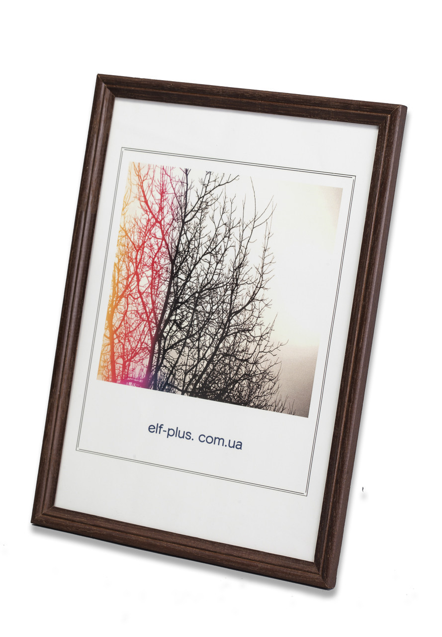 Рамка а2 из дерева - Дуб тёмно-коричневый 1,5 см - со стеклопластиком