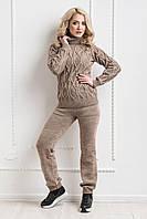 Вязаный теплый костюм светло - коричневый, фото 1