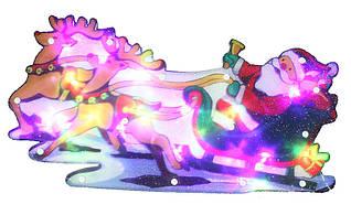 """Новорічна скульптура """"Дід Мороз і сани"""" 24 LED"""