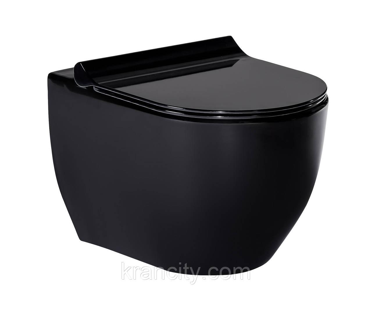 Унитаз подвесной черный, сиденье твердое Slim slow-closing VOLLE BLACK AMADEUS 13-06-055Black