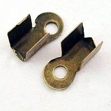 Концевики-Зажимы для Шнура, Железные, Цвет: Бронза, Размер: Длина: 9х3.5х4мм, Отверстие 2мм, (УТ000004257)