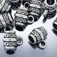 Бейл Трубка, Металл, Тибетский Стиль, Цвет: Античное Серебро, Размер: 8х10х7мм, Отверстие 2мм и 4мм, (УТ0002074)