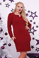 Платье больших размеров от 48 до 62 с карманами +брошь в подарок арт 542/1-217