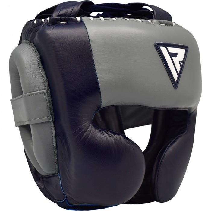 Боксерський шолом RDX Leather Pro Blue M