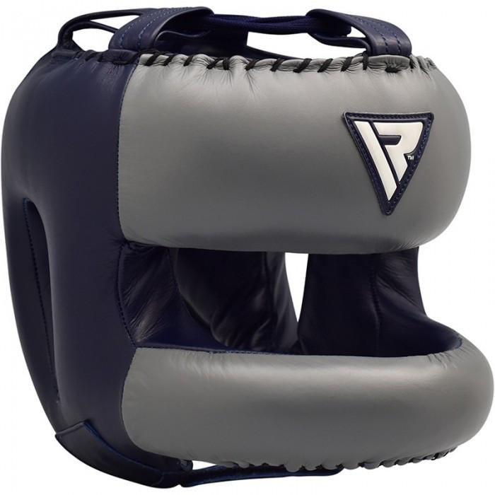 Боксерський шолом з бампером RDX Leather Pro Blue L