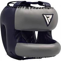 Боксерський шолом з бампером RDX Leather Pro Blue L, фото 1