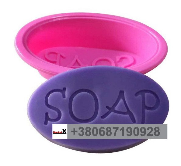 Харчова силіконова форма овальна з текстом SOAP
