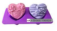 Пищевая силиконовая форма сердце с розами