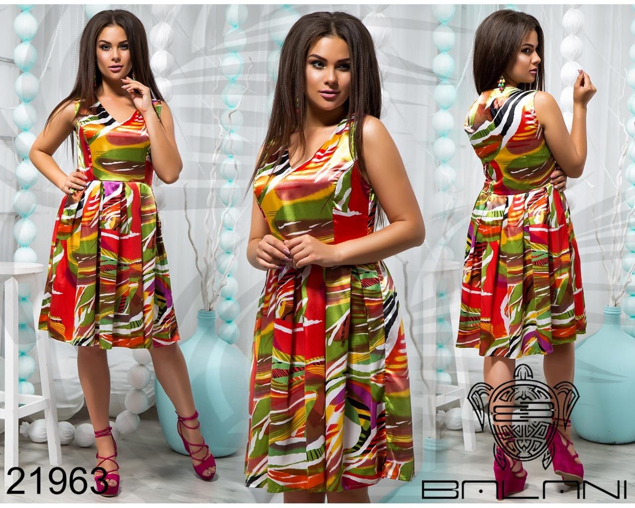 Платье из атласа больших размеров 46+ с расклешенной юбкой, с принтом арт 555/1-41