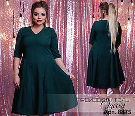 Элегантное платье больших размеров от 46 до 52 с расклешенной юбкой, рукав три четверти арт 558/1-41