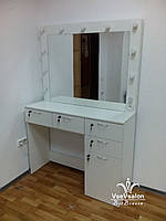 Стіл для макіяжу з великим дзеркалом. Модель А38 білий, фото 1