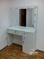 Стол для макияжа с большим зеркалом. Модель А38 белый, фото 1