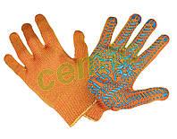Перчатки рабочие вязаные  х.б. с ПВХ Золотая точкой оранжевые, рукавички в'язані бавовняні з ПВХ крапкою