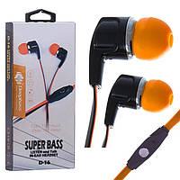 Наушники с микрофоном Deepbass D-16 Черно-Оранжевые